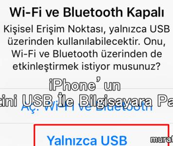 iPhone'un İnternetini USB İle Bilgisayara Paylaşma