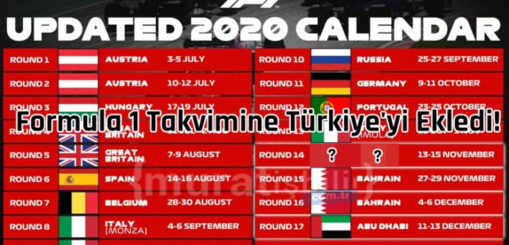 Formula 1 Takvimine Türkiye'yi Ekledi!